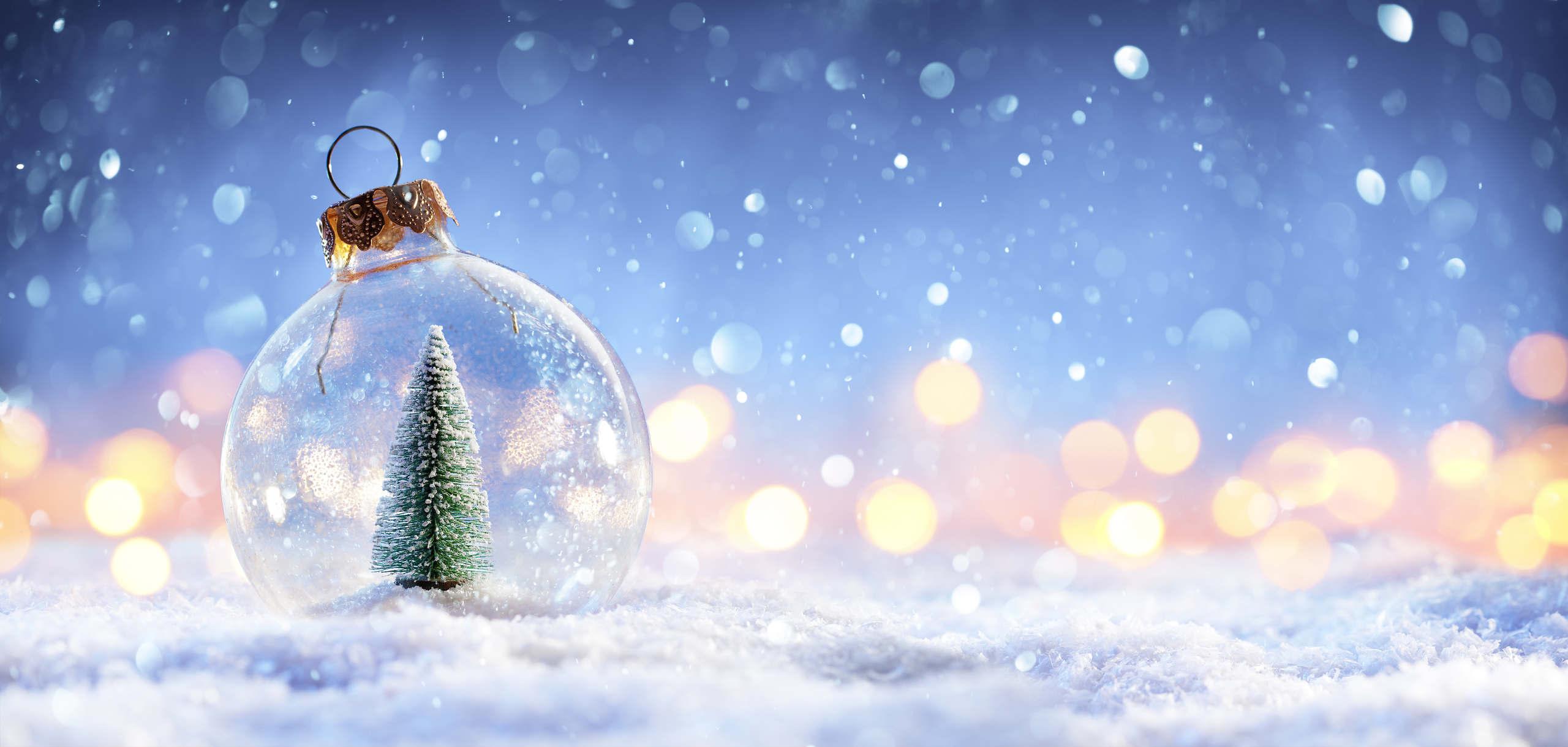 Genomskinlig julgranskula med en julgran ståendes i snö